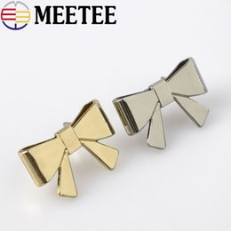 buckle ribbon slider wholesale NZ - Meetee bow metal shoes buckle bag clothing accessories decorative hardware accessories ribbon slider buckle Bag Pin Buckle F1-15