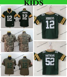ec4c18f69 Youth Green Bay Kids Packers 12 Aaron Rodgers 52 Clay Matthews Football  Jerseys 2019 Camo Salute to Service Stitched Football Shirts S-XL