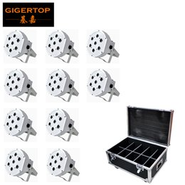 Wholesale 10in1 Flightcase Packing White Shell x12W RGBW Plastic Flat Led Par Light DMX512 Control Power In Out Socket Real Power Long Working Life