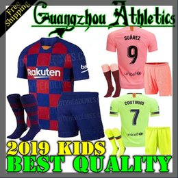 c21a63314c4 18 19 Barcelona home kids soccer jersey 2019 2020 Messi PIQUE SUAREZ  O.DEMBELE I.Rakitic COUTINHO child kit Football jersey