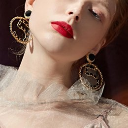 earrings ribbon 2019 - Hyperbole Women Black&White Ribbon Weaves Number 5 Simulated Pearl Large Circle Hoop Earrings Fashion Jewelry cheap earr