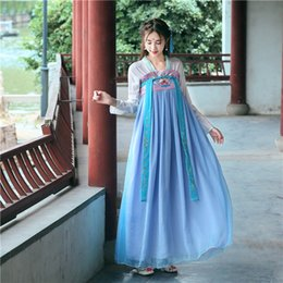 Fairy Style Dresses Australia - Improvement Of Tang Dress And Traditional Chinese Dress With Chinese Element Fairy Embroidered Daily Han Dress J190611