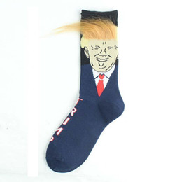 Wholesale red crew socks online – funny 2020 Hot Sale Funny President Donald Trump Socks With D Fake Hair Crew Socks Mens Compression Socks Election Spoof Streetwear