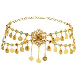 US Warehouse Turkey Sexy Ladies Belly Waist Chain Tribal Gypsy gold Silver Alloy Carved Flower Indian Crystal Beach Dance Belt Boho Body