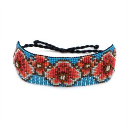 the jewelry factory Australia - Ins Europe and the United States Bohemia retro red plum blossom jewelry Miyuki beads hand-woven female bracelet set Factory