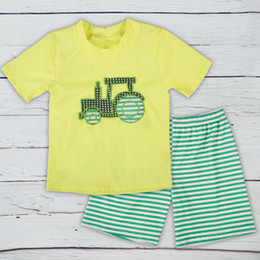 8dca05205 New Summer Baby Boys Clothing Set Kids Short Sleeves Car Truck Printed  Cotton T-shirt with Striped Shorts Fashion Boys and Girls Clothes