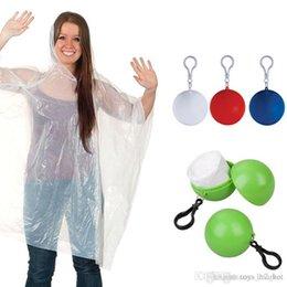 $enCountryForm.capitalKeyWord Australia - Spherical Raincoat Plastic Ball Key Chain Disposable Portable Raincoats Rain Covers Travel Tour Trip Rain Coat