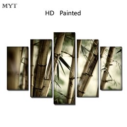bamboo painted wall rooms 2019 - Cheap painting High Quality HD Printed 5 Pieces Clear Green bamboo scenery Canvas Wall Art pictures for living room Home