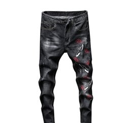 Wholesale male embroidery jeans resale online – designer Fashion Streetwear Ripped Jeans for Men skinny Retro Elasticity Slim Quality Male casual embroidery Denim Trousers G3P2