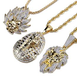 Mens Gold Lion Pendant Australia - Gold Plated CZ Cublic Zirconia Mens Jesus Wukong Lion Portrait Pendant Necklace Twist Chain Lots Style Hiphop Rapper Jewelry Gifts Wholesale