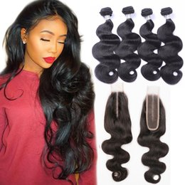 Malaysian hair closure piece online shopping - Malaysian Unprocessed Human Hair Extensions Bundles With X6 Lace Closure Body Wave Hair Extensions With Closure Pieces