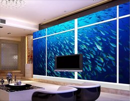 Discount beautiful oil painting for bedroom - 3d wallpaper custom photo mural Beautiful floor to ceiling window underwater world 3D oil painting background home decor