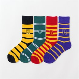 harry potter badges 2019 - Harry Potter Socks Baseball Socks Hogwarts Magic School Long Tube Striped Word Badge Sock Gryffindor Slytherin Ravenclaw