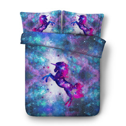 $enCountryForm.capitalKeyWord Australia - Galaxy Unicorn Bedding Kids Boys Girls 3PCS Animals Printed Duvet Cover Set Bedclothes Bed Comforter Cover Bedlinen Universe bedding