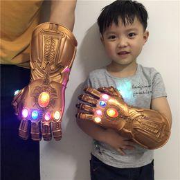 $enCountryForm.capitalKeyWord Australia - Adult Kids Thanos Gloves Avengers 4 Endgame Thanos Cosplay Gauntlet LED Light PVC Glove for Boys Halloween Party Event Props Cool