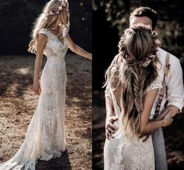 Wholesale (Free Veil )Country Boho Lace Wedding Dresses Sheath V Neck Cap Sleeve 2020 Bohemian Bridal Gowns Sweep Train Backless Robe De Mariee AL3184