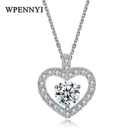 China Romantic Heart-shaped Woman Pendant Necklace Hollow out Top Quality 1ct Cubic Zirconia Crystal Silver Color For Valentine's Day cheap top romantic gift suppliers