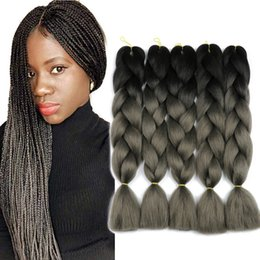 ombre two tone synthetic braiding hair Australia - Synthetic Jumbo Braiding Hair Extensions Two Tone Colors Ombre Jumbo Braids 5pcs lot 24inch Long Crochet Twist Hair For Braiding Wholesale