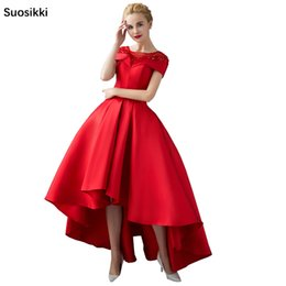 Short Red Lace Prom Vintage Dress Australia - Asymmetrical Short Sleeve Ball Gown Evening Dresses With Jacket 2018 Luxury Prom Formal Dress Evening Gown Robe De Soiree Y19051401