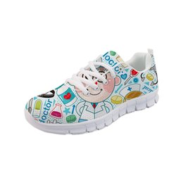 cartoons nursing NZ - Noisydesigns Custom Cartoon Bear Nurse Casual Sneakers Walking Flats Chaussures Femme Sapato Breathable Female Sapato Feminino