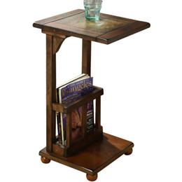 EuropEan tElEphonE antiquE online shopping - New European classical style wood sofa side table with Stone tea table telephone square bedside table Magazine rack living room futniture