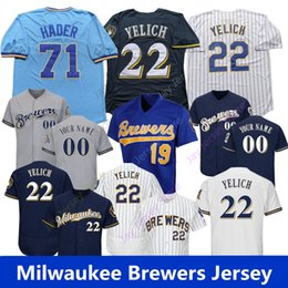 0467384686f Brewers jerseys online shopping - Custom Milwaukee Christian Yelich Jersey  Hader Arcia Brewers Cain Thames Braun