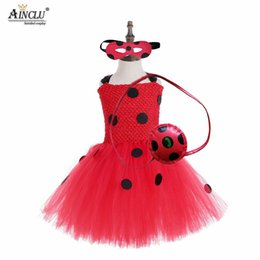 ladies red tutu NZ - 1-8Y Fantasia Kids Lady Bug Costumes Girls Tutu Cotton Dress Fancy Halloween Birthday Cosplay Dress with Bag Mask Suit
