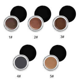 Gel Labels Australia - High Pigmented No label Makeup Eye brows Waterproof 5 Color Eyebrow Pomade Cream Cosmetics Eyebrow Gel Cream with brush beauty tools