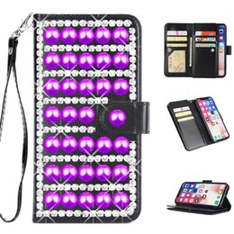 Rhinestone Note Cases Australia - Luxury 3D purple pearl rhinestone case for Samsung Galaxy S10 S9 S8 S7 S6 note8 9 s8+ s9+ with 9 credit card slot wallet leather ladies