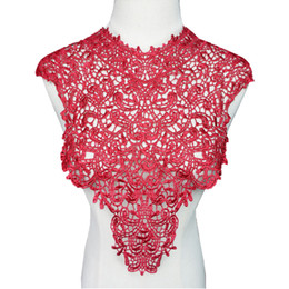 embroidered fabrics for wedding dresses 2019 - Wine Red Fabric Collars Appliques Round Neck Hollow Trims Sew On Embroidered Patches For Wedding Bride Dress DIY
