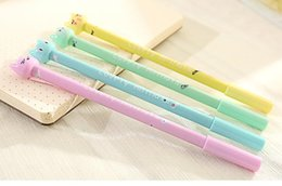 $enCountryForm.capitalKeyWord NZ - Wholesale-4Pcs set Kawaii animals Gel Pen Kawaii candy color cat Stationery Gifts Office Material School Supplies Stationery