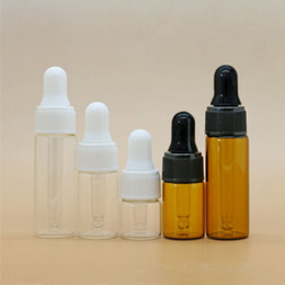 Wholesale ml ml ml glass dropper bottle small essential oil bottle with black and white cap