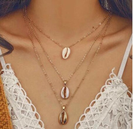 long stylish chain pendant Australia - Three Layers Women Shell Pendant Necklace Gold Silver Stylish Choker Seashell Vintage Long Chain Necklace Bohemian Jewelry Gift GB912