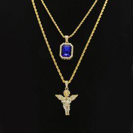 $enCountryForm.capitalKeyWord Australia - Women Men Hip Hop Golden Bling Rhinestone Necklaces Pendants Set Micro Angel Jesus Wings Praying hands Jewelry Gifts Chains