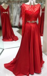 $enCountryForm.capitalKeyWord Australia - Charming Red 2 Pieces Real Photo Prom Evening Dress Formal Gowns Jewel Neck Lace Long Sleeves V Backless Satin Cheap Pageant Celebrity Dress