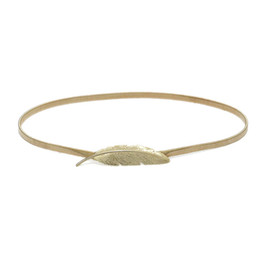 China Bird Feather Buckle Girdle Double Ring Waist Band Women Metal Elastic Force Spring Belt Personality Golden 4 8glb C1 cheap golden spring rings suppliers