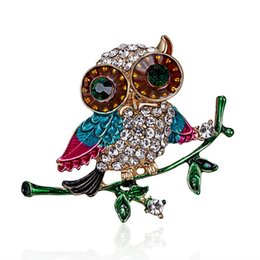 Wholesale Vintage Shiny Crystal Diamante Gem Brooch Unisex Animal Owl Corsage Lapel Pins Brooches Party Prom Jewelry Clothing Accessory
