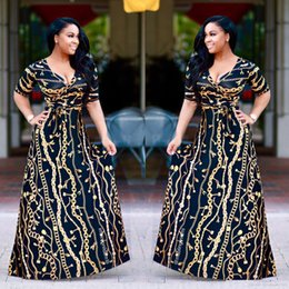 chain print maxi dress Australia - 2017 Plus Size African Fashion Designed Traditional Maxi Dress Autumn Women Vintage Chain Print Long Dress Sexy Elegant Party Dresses