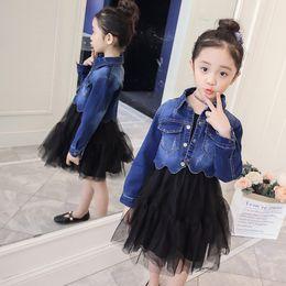 $enCountryForm.capitalKeyWord Australia - Princess Teen Girls Jean Clothes Sets Autumn Spring Denim Jackets+Tutu Dress Kids Back To School Outfit Sets for Girls 3 4 6 7 8