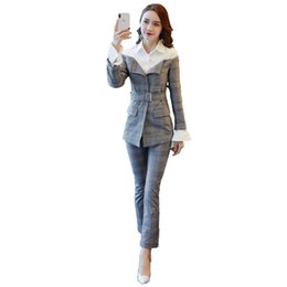 goddess costume women Canada - Office Lady Year-old Female Costume Conjunto Feminino Ensemble Femme Survetement Goddess Stylish Two Piece Set Woman Suit