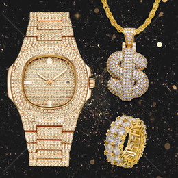 $enCountryForm.capitalKeyWord Australia - Lureen Full Iced Out Quartz Watch Hip Hop Dollar Pendant Necklace Cz Big Stone Ring Men Combo Set Jewelry Party Gift W0001 Y19051302