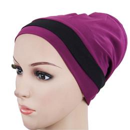 Braiding Hair Cap NZ - Muslim Stretch Turban Women Hair Accessories Milk Silk Solid Color Bandanas Beaded Braid Headwraps Headwear India Caps W85