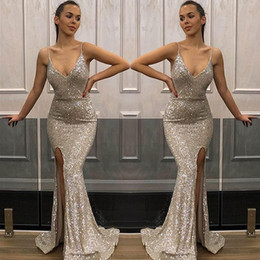long strapless linen dresses NZ - Mermaid V-Neck Split Sequined Prom Dresses Long 2019 Cheap Sequin Applique Formal Evening Gowns Cocktail Party Ball Sweet 16 Dress