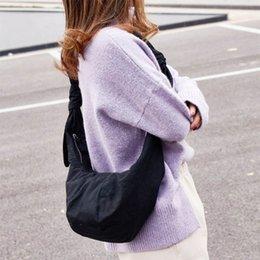 Shoulders Knots Australia - Women Canvas Shoulder Bag With Knotted Dumplings Bag Messenger Bag Tide Handbag