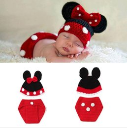 Baby Crochet Prop Sets Australia - Baby GIRL Beanies Infant Baby Cartoon Hats Caps&Diaper Set Nursling Knit Crochet Photo Props 1set