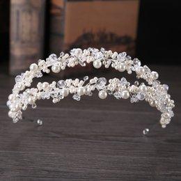 Double crown hair online shopping - Fashion Women Double Row Pearl Crystal Beads Headbands Hairband Tiara Princess Bridal Wedding Crown Hair Jewelry Accessories SL