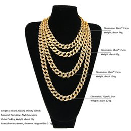 silver heavy curb chain NZ - Men's Miami Curb Cuban Link Chains Gold & Silver Plated Full Diamond Iced out Thick Heavy Necklaces For women Hip Hop Jewelry