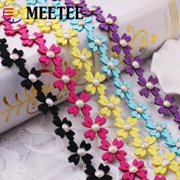 Wholesale Meetee Flower pearl lace Colorful Flower Beads Ribbon DIY floret handmade clothing lace Headwear Accessories ZK1001