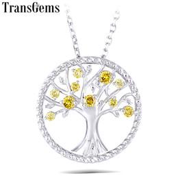 $enCountryForm.capitalKeyWord Australia - Transgems Yellow Hpht Diamond 18k 750 White Gold Diamond Pendant Necklace For Women Wedding Gift Tree Shaped Pendant Link Chain Y190726