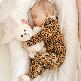 onesie rompers Australia - New Green Leopard Infant Baby Rompers Cotton autumn Newborn Boys onesie Girls Clothes Infant Baby Clothing Long Sleeved JumpsuitMX190912